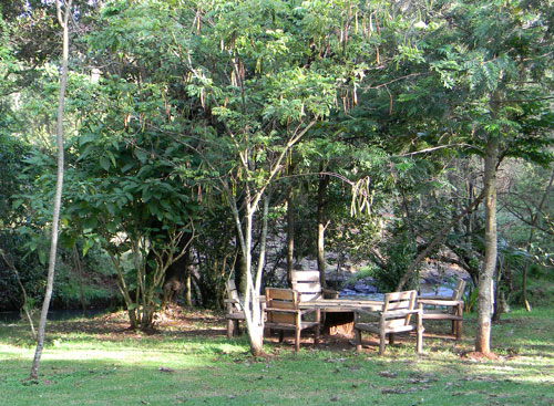 Outdoor seating area at Naiberi River Camp photo © by Michael Plagens